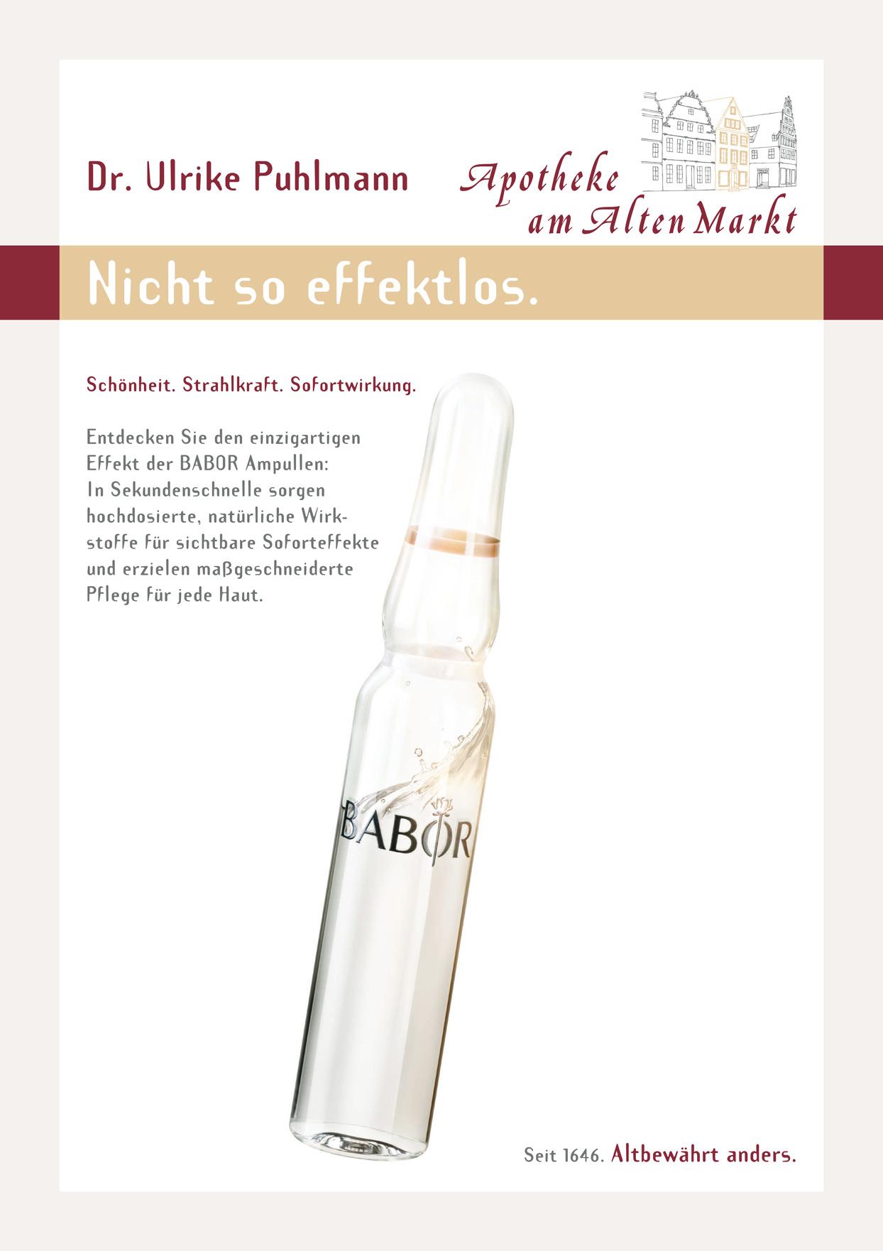 Plakat: Hautpflege mit BABOR Ampullen